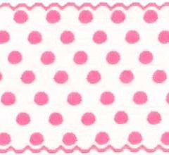 7435a650f7 White with Pink Polka Dots 5 1 2 inch wide stretch lace trim
