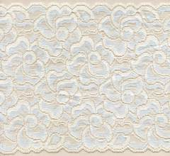 cce21f8415 Cream and Light Blue Green 6 3 4 inch wide cross dyed stretch lace trim