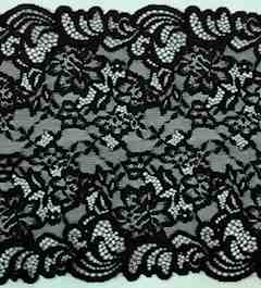 "Black 8 3/4"" inch wide stretch lace trim"